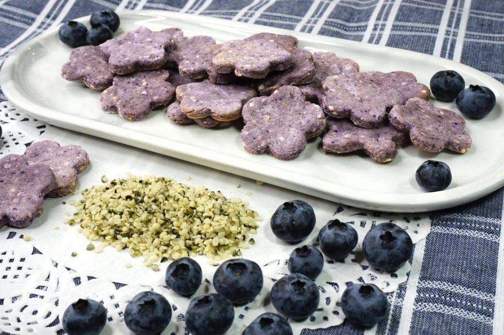 apple, blueberry, hemp dog treats