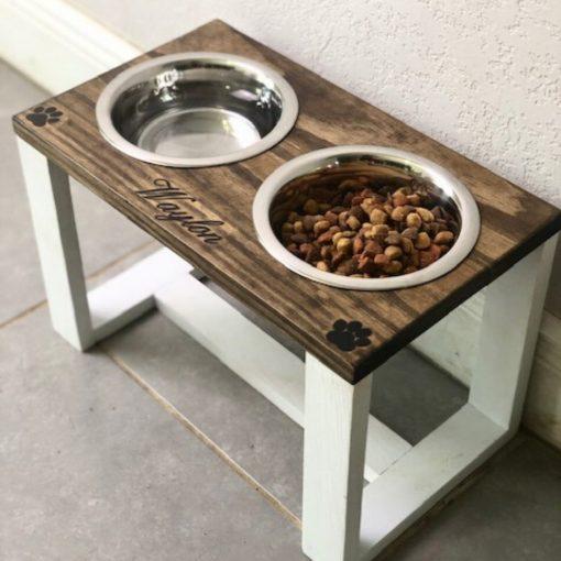 raised dog feeding station