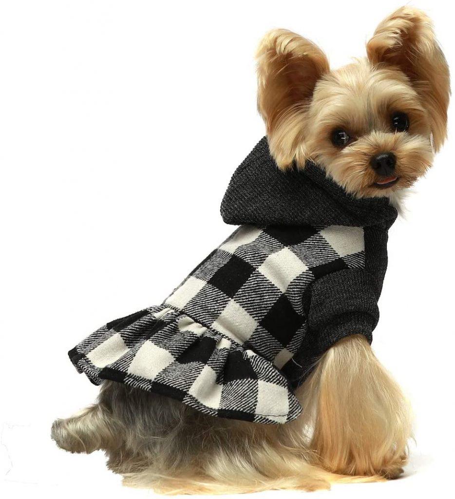 knitted plaid dog hoodie
