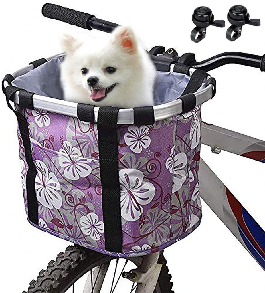 purple bike dog carrier