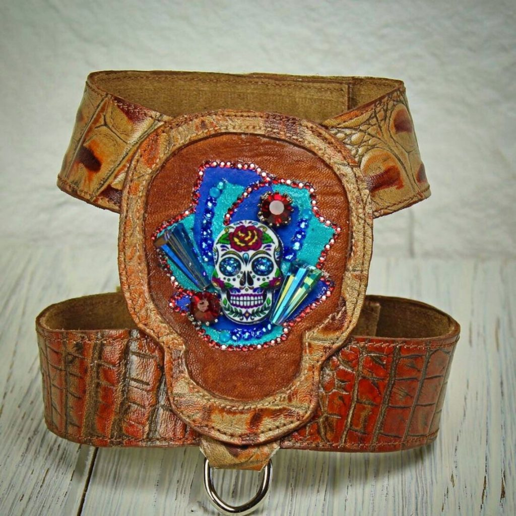 leather skull harness