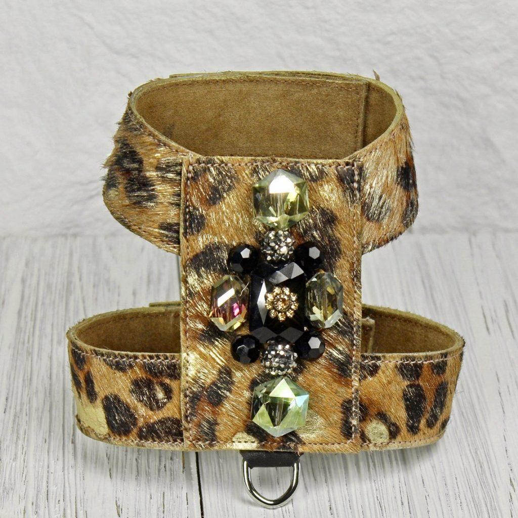 leopard print dog harness