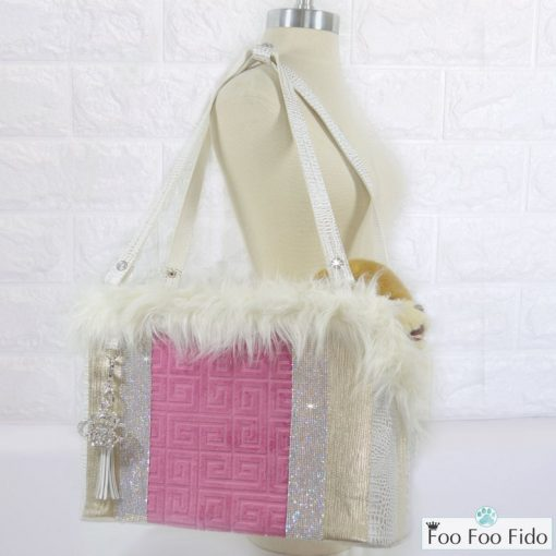 pink leather dog travel purse
